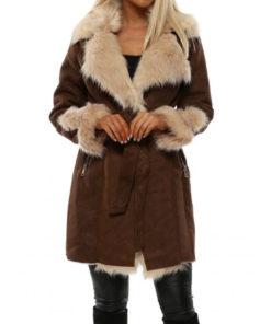 Women Faux Fur Brown Suede Leather Coat