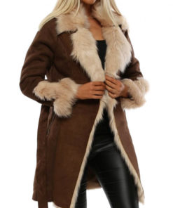 Women Faux Fur Collar Brown Suede Coat