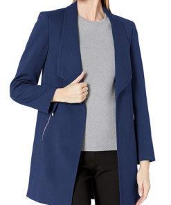 Women's Zipper Pocket Blue Coat