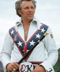 Evel Knievel White Biker Leather Jacket
