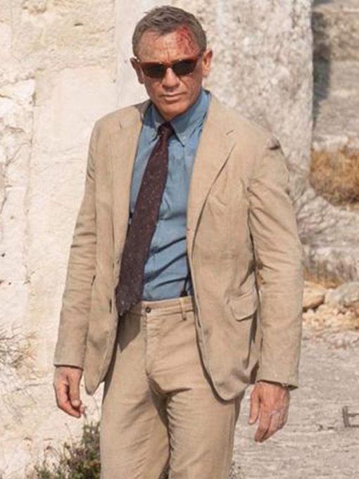 Daniel Craig No Time to Die Beige Cotton Suit