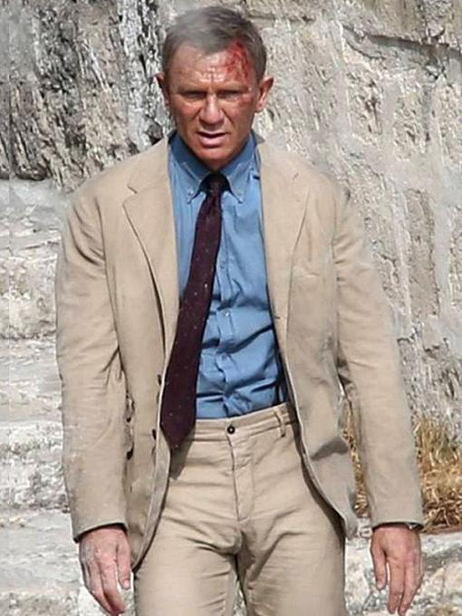 Daniel Craig No Time to Die Beige Suit