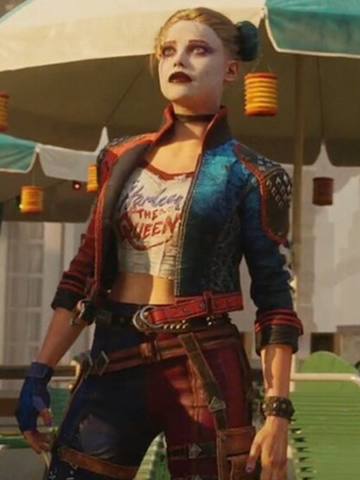 Harley Quinn Suicide Squad Kill the Justice League Red and Blue Studded Jacket