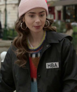 Lily Collins Emily in Paris HBA Logo Cropped Jacket