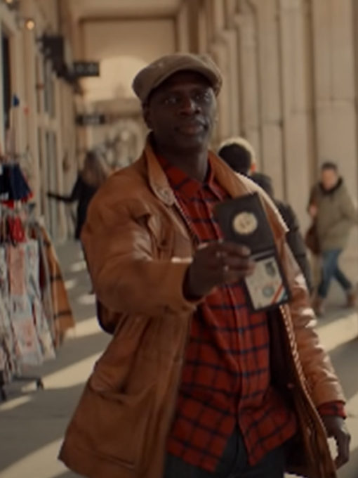 Arsene Lupin Omar Sy Leather Brown Jacket