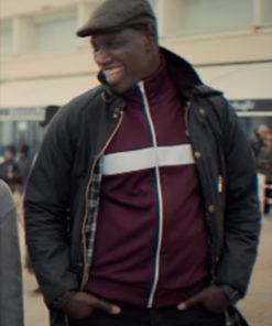 Arsene Lupin Omar Sy Fur Collar Black Jacket