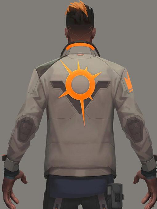 Phoenix Fiery Valorant White Leather Jacket