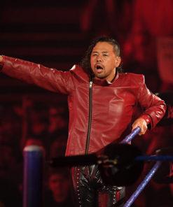Wrestler Shinsuke Nakamura Red Leather Jacket