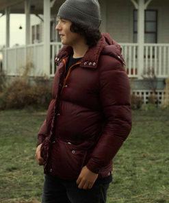 Jordan Kent Superman and Lois Maroon Puffer Jacket