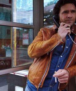 Allan Hawco Caught David Slaney Brown Biker Jacket