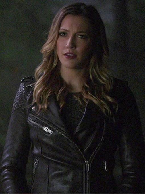 Arrow Katie Cassidy Black Biker Leather Jacket