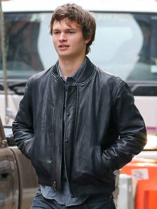 Ansel Elgort Black Bomber Leather Jacket