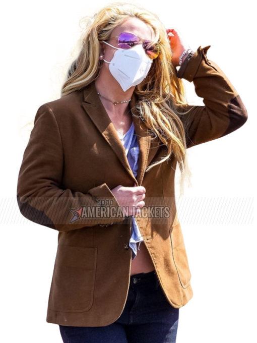 Britney Spears Malibu Brown Blazer Coat