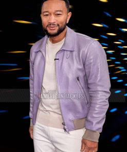 John Legend The Voice 2021 Purple Leather Jacket
