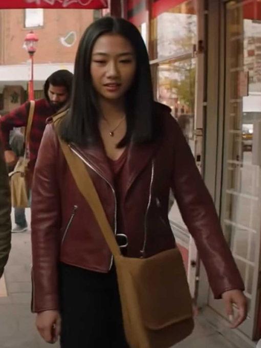 Kung Fu Nicky Maroon Biker Leather Jacket