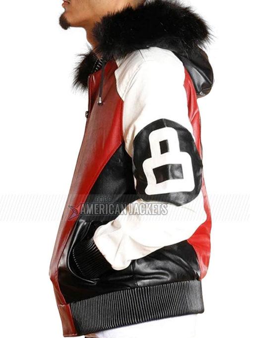 8 Ball Bomber Leather Jacket with Detachable Fur Hood