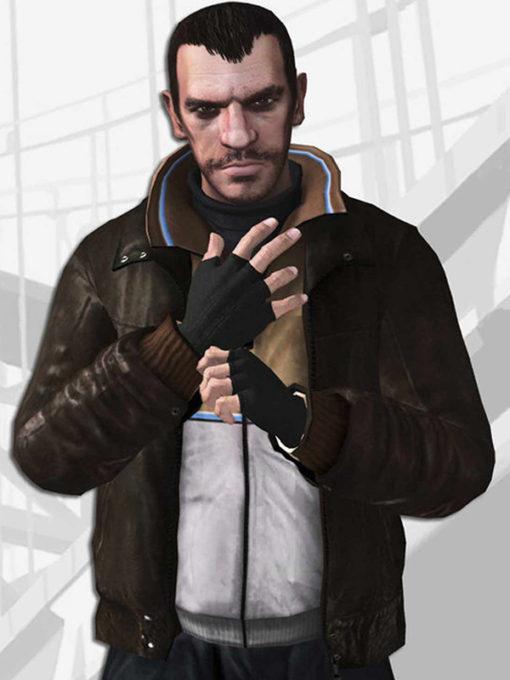 Niko Bellic Brown Leather Jacket