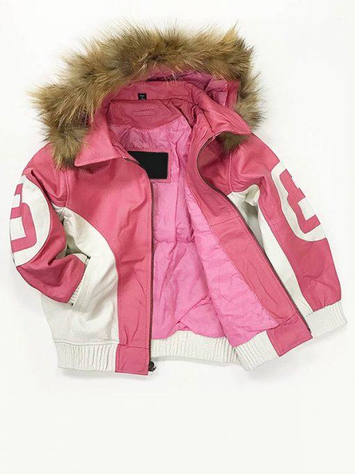 8 Ball Shearling Pink Hooded Jacket