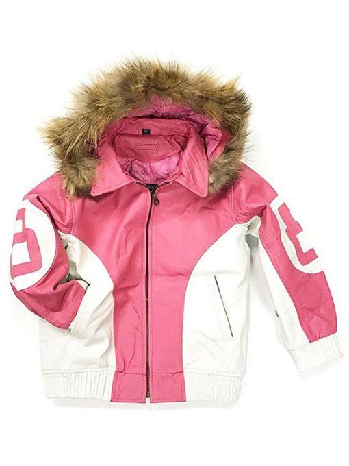 8 Ball Shearling Pink Bomber Jacket