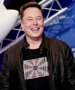 Tesla-Model-S-Plaid-Event-Elon-Musk-Black-Leather-Jacket